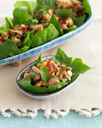 Kaffir Chicken on Spinach Leaves