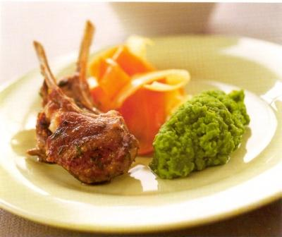 Lamb Cutlets with Minted Pea Puree and Ribbons of Parsnip and Carrot