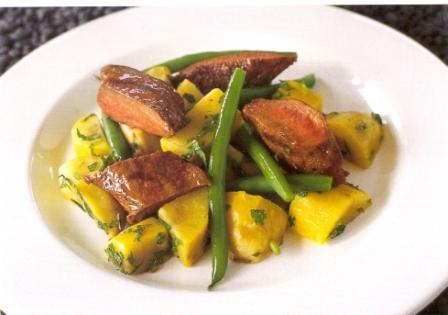 Grilled Marinated Spicy Lamb with Chunky Kumara and Green Bean Salad