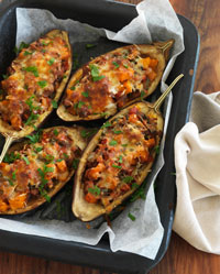 Eggplants Stuffed with Pumpkin, Pinenuts and Spinach