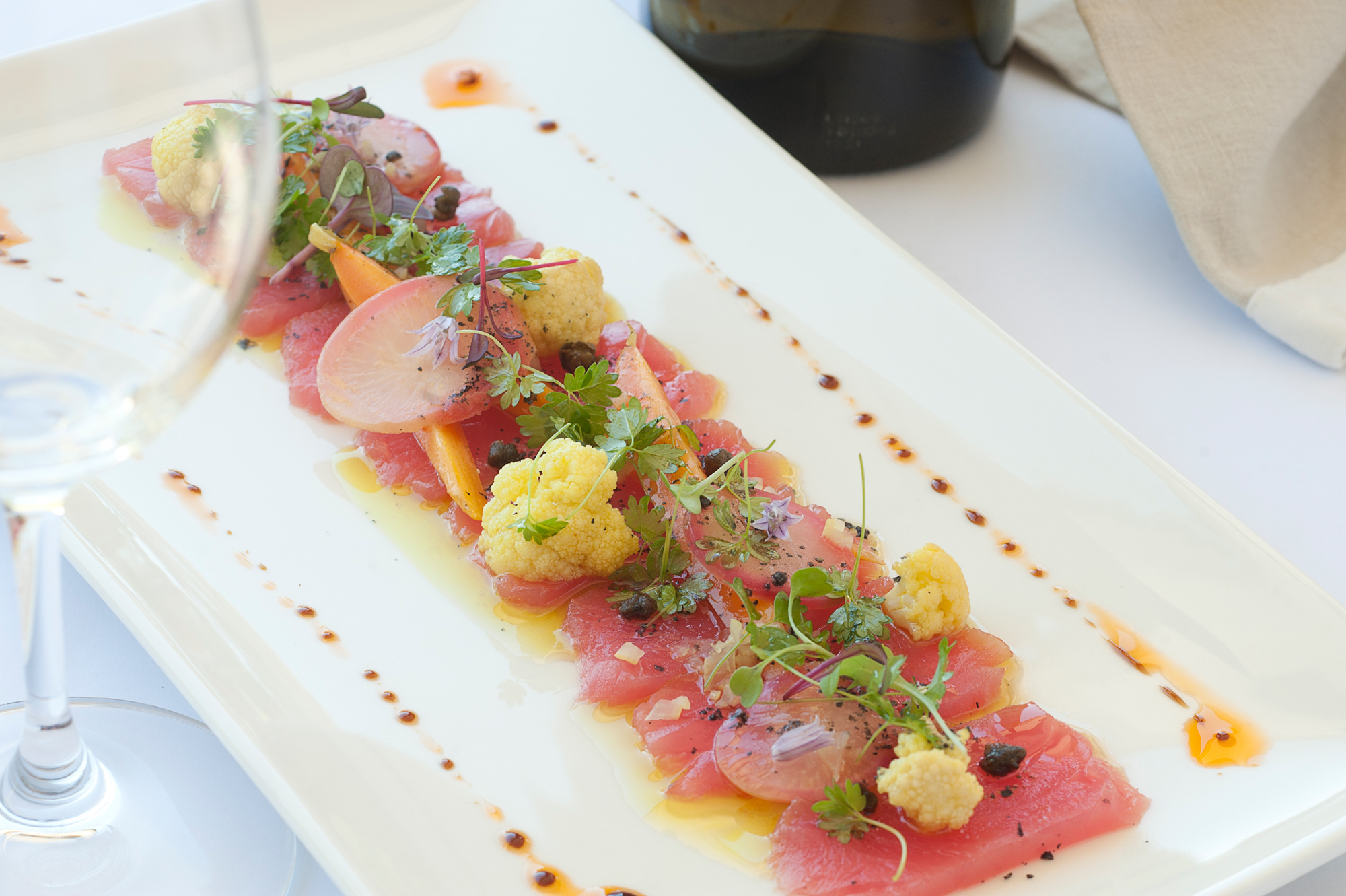 Carpaccio of Kingfish with Picalilli, capers and white balsamic dressing