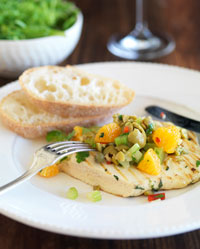 Chargrilled Chicken with Green Olive and Orange Salsa