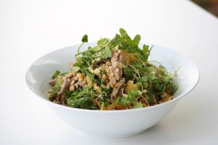 ROAST DUCK SALAD WITH ORANGE, WATERCRESS AND WARM HAZELNUT VINAIGRETTE