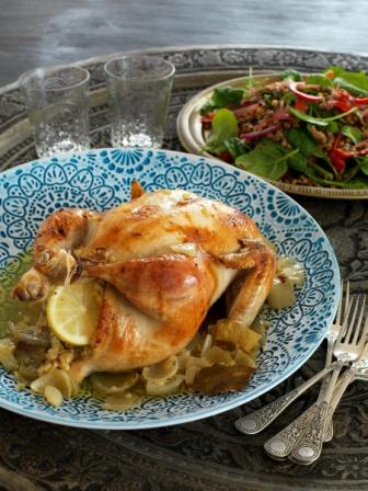 Roast Chicken with Peppery Bulgar Wheat Stuffing