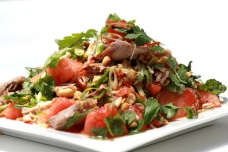 ROAST DUCK AND WATERMELON SALAD WITH GREEN CHILLI AND ROASTED PEANUTS
